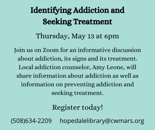 Bancroft Memorial Library presents- Identifying Addiction and Seeking Treatment Virtual Event