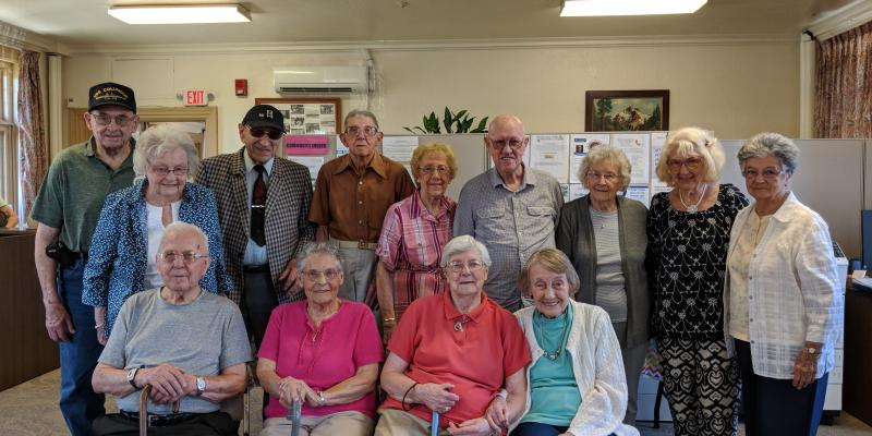 Hopedale folks celebrating at the 90 and older birthday party.
